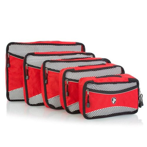 Heys International 30005-0003-00 Eco Packing Cube Travel Accessory, Red - 5 Piece per Set