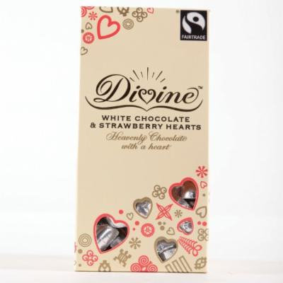 Divine Chocolate - White Chocolate & Strawberry Hearts - 100g