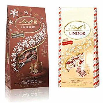 Lindor Holiday Chocolate Pack: Gingerbread Milk Chocolate & Peppermint White Chocolate Truffles, 8.5 Ounce