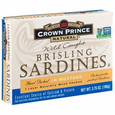 Crown Prince Natural, Brisling Sardines, In Mustard, 3.75 oz (pack of 12)