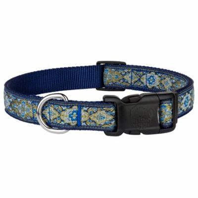 Country Brook Petz™ Deluxe Blue and Gold Flower Ribbon Dog Collar
