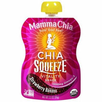 Mamma Chia, Organic Chia Squeeze Vitality Snack, Strawberry Banana, 8 Pouches, 3.5 oz (99 g) Each(pack of 1)