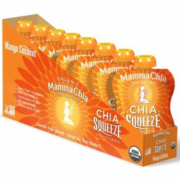 Mamma Chia, Organic, Chia Squeeze, Vitality Snack, Mango Coconut, 8 Pouches, 3.5 oz (99 g) Each(pack of 3)