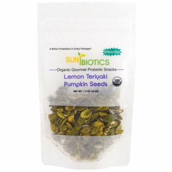 Sunbiotics, Organic Gourmet Probiotic Snacks, Pumpkin Seeds, Lemon Teriyaki, 1.5 oz (pack of 12)