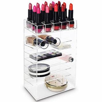 Ikee Design Acrylic Cosmetic Makeup Organizer- Adjustable Multi-Function Cosmetic Storage Unit / Multi-Purpose / Space-Saving / Lipstick Rack Palette Holder