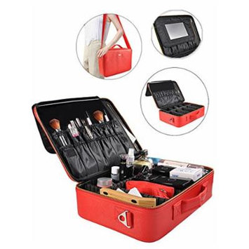 Portable Makeup Bag Professional Makeup Case Travel Cosmetic Toiletry Organizer with Shoulder/Pull rod Sleeve/Mirror Waterproof for Gift Festival Surprise (Large, Red)