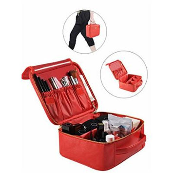 Portable Makeup Bag Professional Makeup Case Travel Cosmetic Toiletry Organizer with Shoulder/Pull rod Sleeve/Mirror Waterproof for Gift Festival Surprise (Small, Red)
