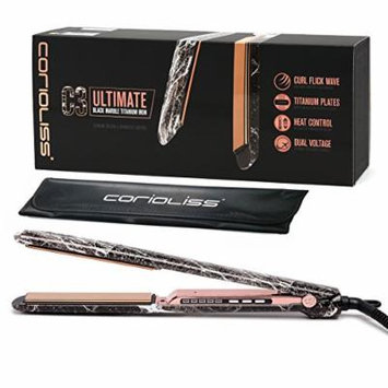Corioliss C3 Ultimate Titanium Flat Iron, Black Marble with Copper Effect, 2 Year Warranty, Professional Hair Straightener, Negative Ion, Anti-Static Anti-Frizz, Travel pouch included