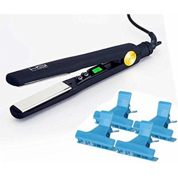 "HSI Professional Titanium Tourmaline Ionic 1.25"" Ceramic Flat Iron Hair Straightener, With A Bonus of 4 BeauWis Butterfly Clamps"