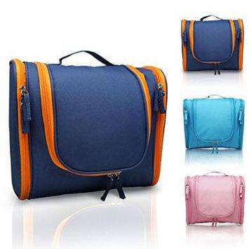 MANUKA Heavy Duty Premium Large Waterproof Hanging Toiletry Bag - Shaving Kit Organizer For Men and Cosmetics Makeup Bag For Women Orange Blue
