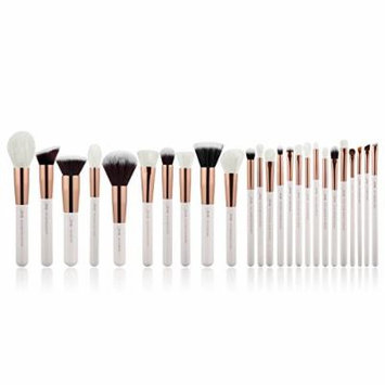 Jessup Brand 25pcs Professional Makeup Brush set Beauty Cosmetic Foundation Power Blushes eyelashes Lipstick Natural-Synthetic Hair Brushes set (Pearl White/Rose Gold)