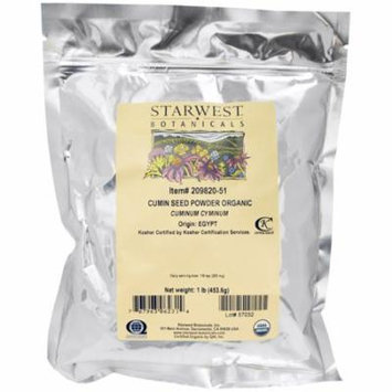 Starwest Botanicals, Organic Cumin Seed Powder, 1 lb (pack of 4)