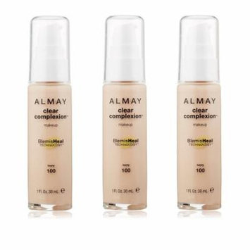 Almay Clear Complexion Makeup Foundation with 4 in 1 Blemish Eraser, #100 Ivory (Pack of 3)