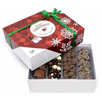 Gift Universe Christmas Gift Box with Tri-Colored Coffee Beans, Nonpareils Christmas, Dark Chocolate Turbinado Almonds and Milk Chocolate Caramel Pecan Patties, 1.8 Lbs (817g)