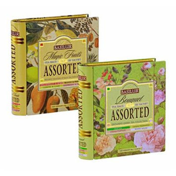 Basilur , Bouquet & Magic Fruits Assorted Tea Book Set , 100% Pure Ceylon Tea , Collectable Metal Caddy , 2 X 32 Tea Bags Sachets