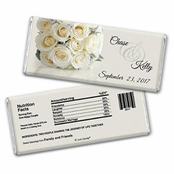 Wedding Favor Personalized Chocolate Bars Fully Assembled - White Roses Bouquet (12 Count)