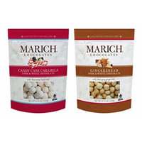 Marich Chocolates DUO Limited Edition CANDY CANE CARAMEL Dark & White Chocolate and GINGERBREAD Dark & White Chocolate 2 X 4.75 Oz (Pack of 2)