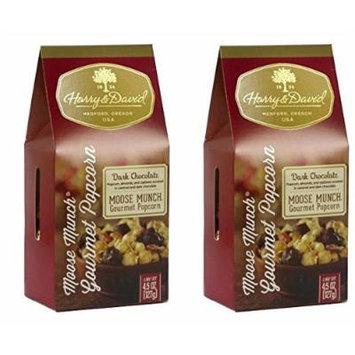 Harry & David Moose Munch Gourmet Popcorn Dark Chocolate 4.5 oz 2 pack Bundle