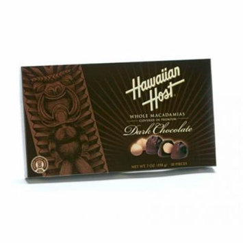 Hawaiian Host Whole Macadamias Premium Dark Chocolate 7 oz Box (Pack of 12)