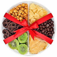 Gift Universe Christmas Gift Tray with Chocolate Covered Pretzels, Dried Kiwi, Dried Mangoes, Caramel Popcorns, Chocolate Covered Raisins and Dried Pineapple Tidbits, 1.6 Lbs (726g)