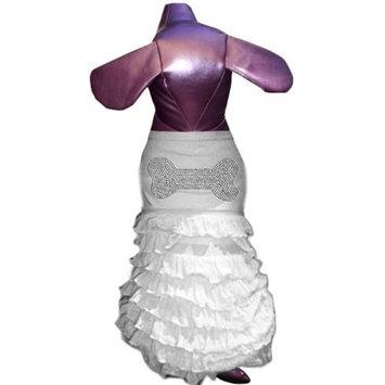 Pet Tease Bone Frill Dog Dress, White with Rhinestone Image