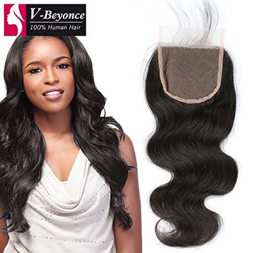V-Beyonce 4x4 Lace Closure Middle Part With Baby Hair Brazilian Virgin Hair Body Wave Closure 14