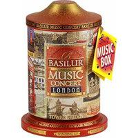 Basilur , London Music Tin , Music Concert Collection , Pure Ceylon Black Tea with amaranth, cornflower, bergamot and chocolate , Metal Caddy , 20 Pyramid Tea Bags , Gift of Tea , Pack of 1