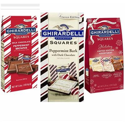 Ghiradelli Holiday Chocolate Square Pack Milk Chocolate Peppermint Brownie, Dark Chocolate Peppermint Bark, and Holiday Limited Edition Eggnog Peppermint Bark and Pumpkin Spice Caramel