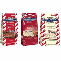 Ghirardelli Chocolate Squares Holiday Assortment Bundle - Includes: Holiday Limited Edition Assortment, Milk Chocolate Peppermint Brownie, Peppermint Bark
