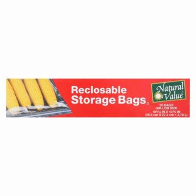 Natural Value Reclosable Storage Bags - Pack of 12 - 20 Count