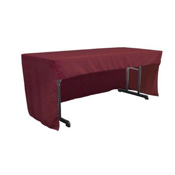 LA Linen TCpop-OB-fit-96x30x30-BurgundyP17 2.26 lbs Open Back Polyester Poplin Fitted Tablecloth Burgundy