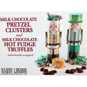 Harry London Gourmet Chocolates Decorative Collectible Nutcracker Holiday Tins Filled with Milk Chocolate Pretzel Clusters & Hot Fudge Truffles Individually Wrapped Set of 2 (Gold & Green)