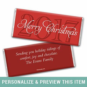 Christmas Personalized Chocolate Bar Wrappers Only 2017 Merry Wish (25 Wrappers) Red