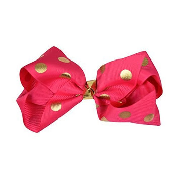 Hot Pink Jumbo Bow with Gold Polka Dots by Motique Accessories