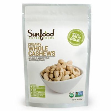 Sunfood, Creamy Whole Cashews, 8 oz (pack of 2)