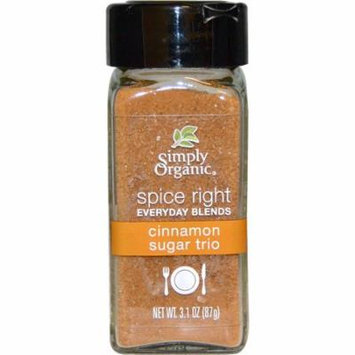 Simply Organic, Organic Spice Right Everyday Blends, Cinnamon Sugar Trio, 3.1 oz (pack of 12)