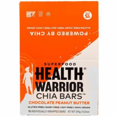 Health Warrior, Inc., Chia Bars, Chocolate Peanut Butter, 15 Bars, 13.2 oz (pack of 2)