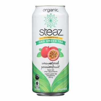 Steaz Unsweetened Green Tea - Passion Fruit - Pack of 12 - 16 Fl Oz.