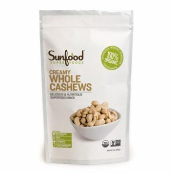 Sunfood, Creamy Whole Cashews, 1 lb(pack of 4)