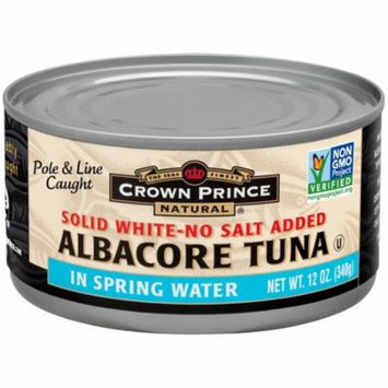 Crown Prince Natural, Albacore Tuna, Solid White-No Salt Added, In Spring Water, 12 oz (pack of 3)