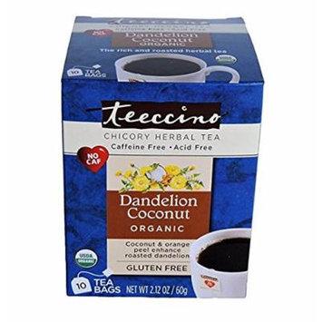 Teeccino Dandelion Chicory Herbal Tea Bags, Coconut, 10 Count (Pack of 4)