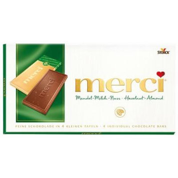 Merci Fine High Quality Milk Chocolate Hazelnut Almond (4 Individual Bars) 6x100g