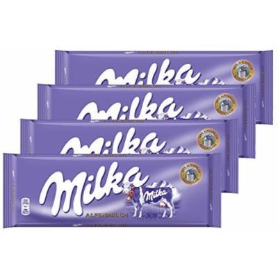 Milka Alpine Milk Chocolate (Germany Alpenmilch) Large Bar 300g, Pack of 4