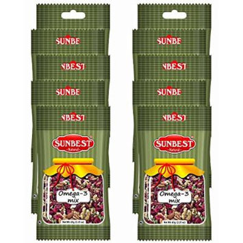 SUNBEST Grab &Go Snack Pack, Trail Mix Nuts Seeds and Fruits (Omega 3 Mix), 10 Count - Single Serve Bag