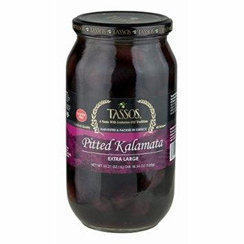 Tassos Pitted Kalamata Olives, 1 Liter (pack of 6)