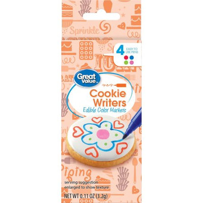 Wal-mart Stores, Inc. Great Value Cookie Writers (Edible Color Markers), 4 pens
