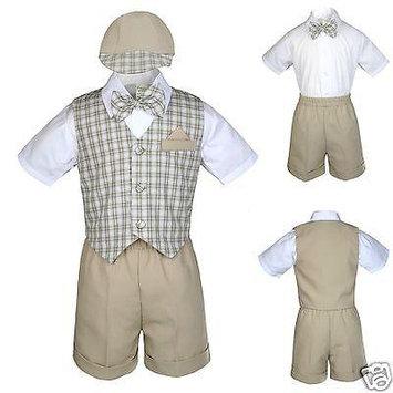New Khaki Checkered Eton Vest Shorts Suit Boy Baby & Toddler S M L XL 2T 3T 4T