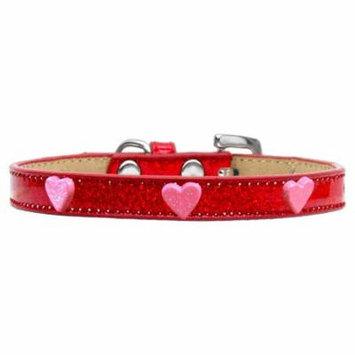 Pink Glitter Heart Widget Dog Collar Red Ice Cream Size 12