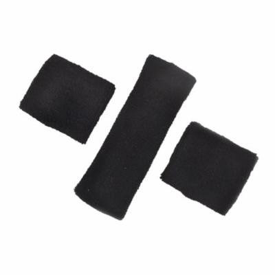 GOGO Thick Solid Color Sweatband Set (1 Headband + 2 Wristbands)-Black