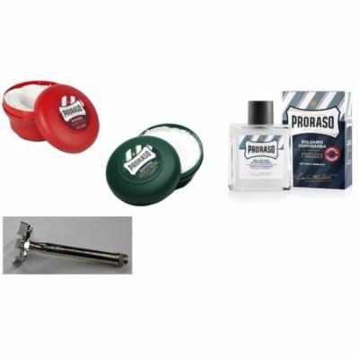 Proraso Shave Soap, Sandalwood 150 ml + Proraso Shaving Soap Menthol and Eucalyptus 4 Oz + Double Edge Razor + Proraso After Shave Balm Protective, 3.4 Fluid Ounce + Scunci Black Roller Pins, 18 Pcs